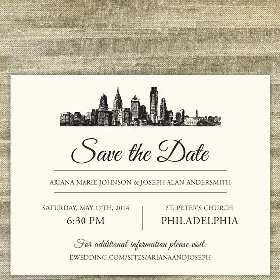 Philadelphia Skyline Destination Save the Date by PixieChicago, $5.00