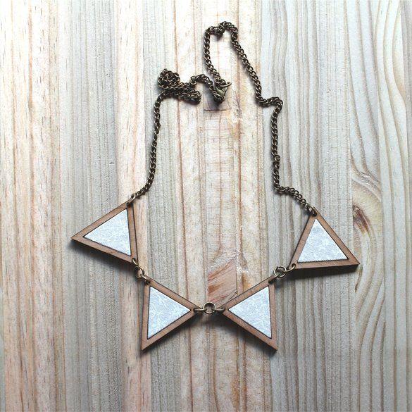 Kosbaar | Bunting Necklace  Timber & fabric inlay  | White-on-white filigree…