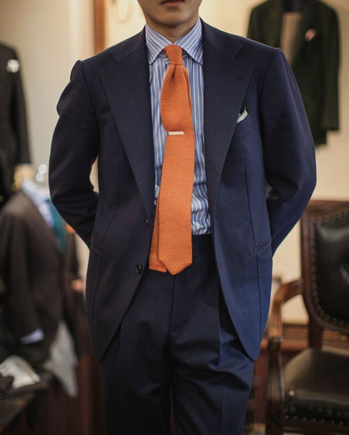 Navy suit blue shirt with white dress stripes orange for Shirt color navy suit