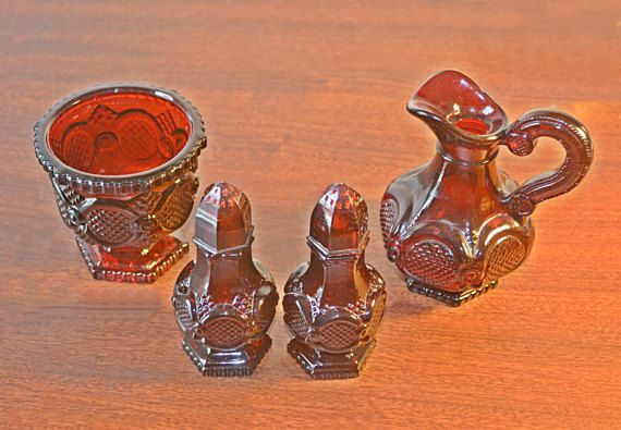 Vintage Avon Cape Cod Collection Ruby Red Cruet by Collectitorium