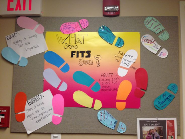 """What Shoe Fits You?"" Equity vs. Equality, Diversity & Inclusion Passive Program/RA Bulletin Board from The Village."