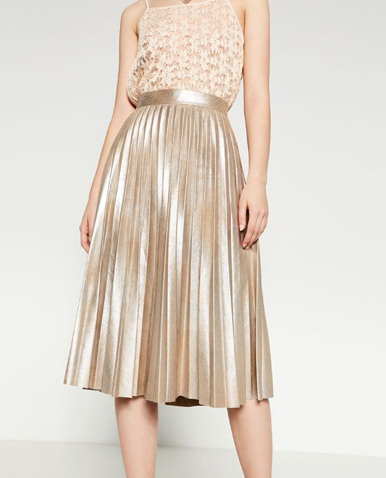 Image 2 of FINELY PLEATED METALLIC MIDI SKIRT from Zara