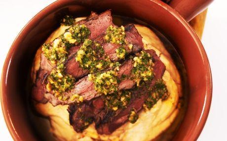 Rump Steak with Bean Mash and Hazelnut Salsa Verde.