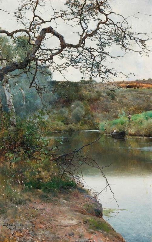 Живопись маслом. Emilio Sánchez-Perrier (1855-1907), En Barque sur une rivière paisible, Alcala - 1886