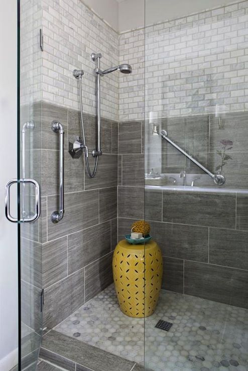 Bathroom shower with seamless doors large grey tile for for Large glass tiles for bathroom