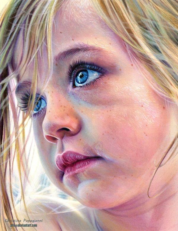 Christina Papagianni is an amazing artist from Greece who created incredible realistic portrait drawings using Derwent watercolor pencils dry.