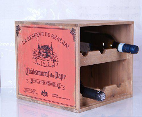 Affichage de stockage étagère de vin en bois pour 6bouteilles Style shabby chic vieilli antique: Le vin est l'alcool, qui devraient avoir…