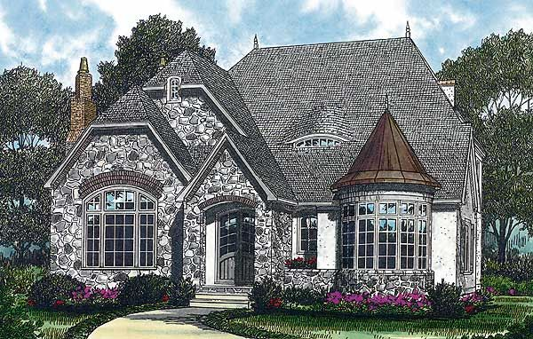 House Plan Small Home Design: Plan 17687LV: Mini-Castle With Turret