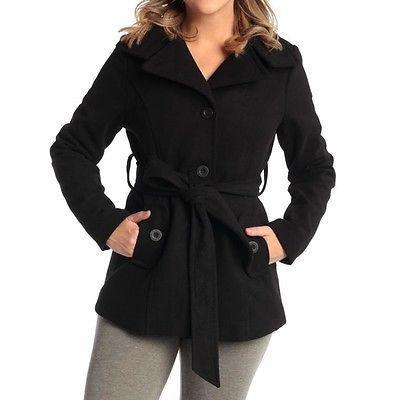 Alpine Swiss Bella Women's Belted Blazer Button Up Wool Coat Funnel Neck Jacket