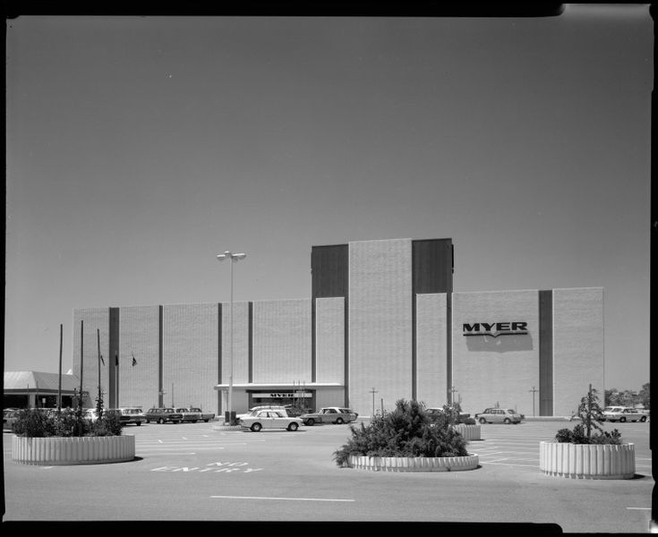 224042PD: Karrinyup Shopping Centre. Northern entrance to Myer department store, 1974.  http://encore.slwa.wa.gov.au/iii/encore/record/C__Rb2583569__S224041pd__Orightresult__U__X3?lang=eng&suite=def