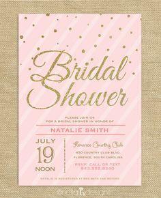 Blush Pink & Gold Glitter Bridal Shower Invitations – Nella Designs