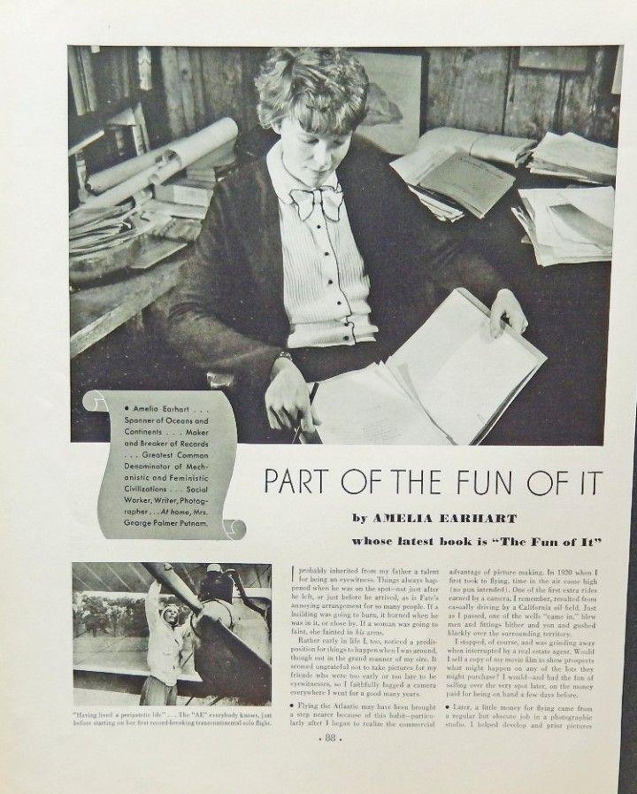 Amelia Earhart  30 s print ad  B W Illustration  the fun of it  original 1933 Fortune Magazine Art