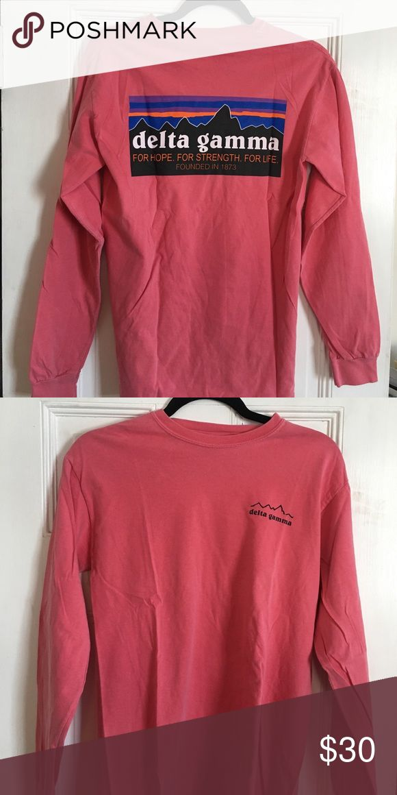 """Delta Gamma """"Patagonia"""" long sleeve tee Patagonia logo with DG written instead. Extremely soft salmon pink comfort colors long sleeve t-shirt. Worn maybe once, so perfect condition! (Lilly for exposure) Lilly Pulitzer Tops Tees - Long Sleeve"""