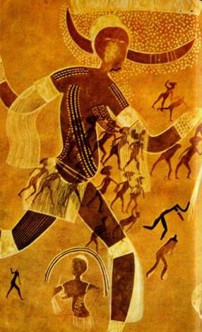 Tassili cave painting (2500 BCE or older) Notice the flying or floating appearance.