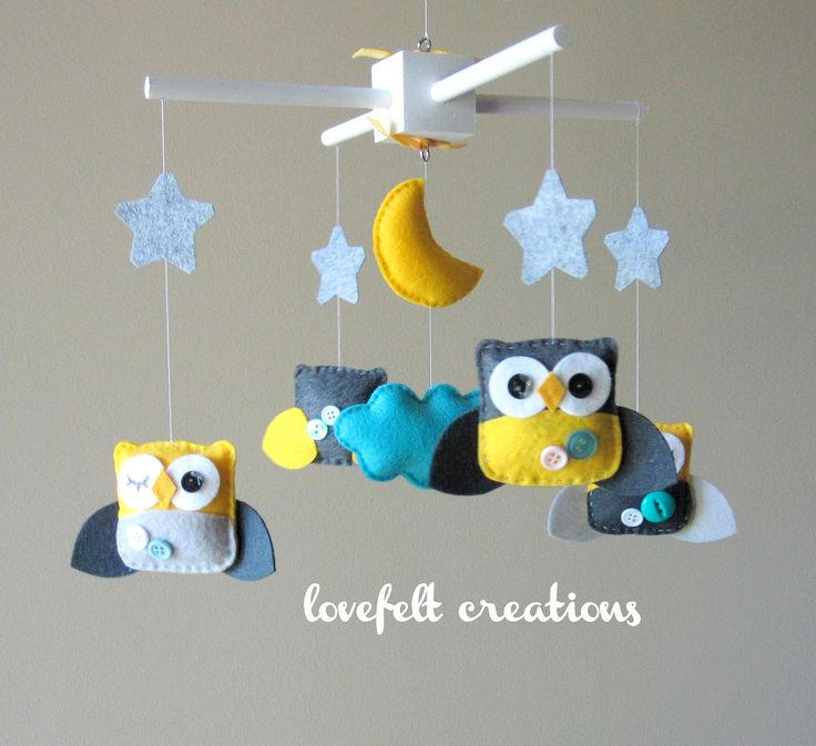 Baby Crib Mobile - Baby Mobile - Owl Baby Mobile - Mobile Owls - Nursery Mobile - Neutral Mobile - You can pick your colors :). $100.00, via Etsy.