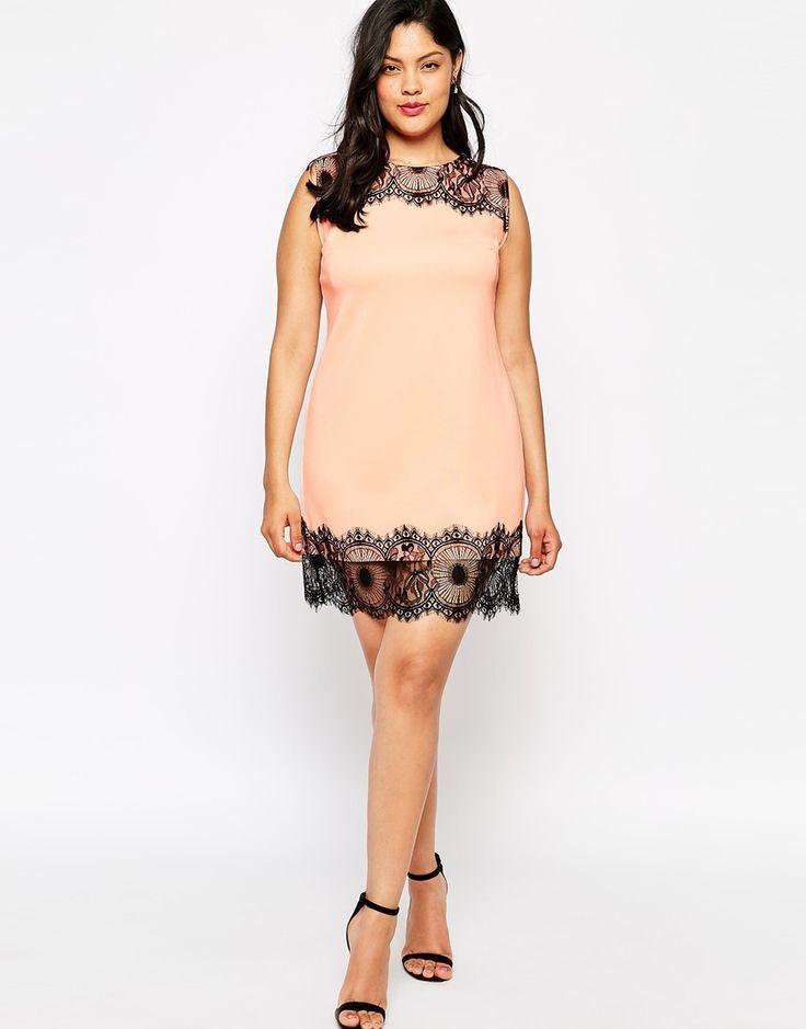 Image 4 of Club L Plus Size Body-Conscious Scuba Dress with Lace Trim