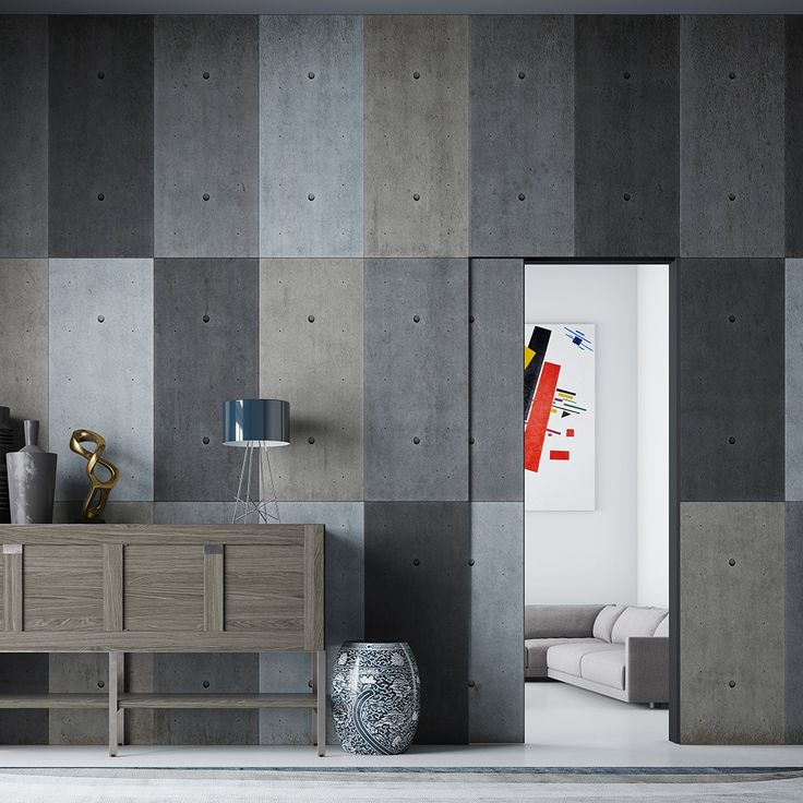 Linvisibile Marea Concealed Sliding Door, Microcement finish as the wall