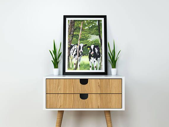 boho farmhouse art, cow art print, holstein cow print, farmhouse decor, quirky animal art, cows in pasture, living room decor, original cows