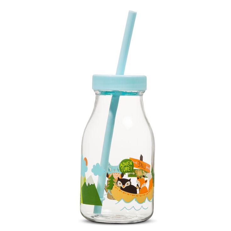 Woodland Animals Decal 14oz Plastic Milk Bottle with Straw - Pillowfort,