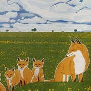 Foxes in the countryside, Acrylics on canvas, 19 x 27 ins by Westmeath artist, Eamon Reilly, recently published on the New Irish Art Platform
