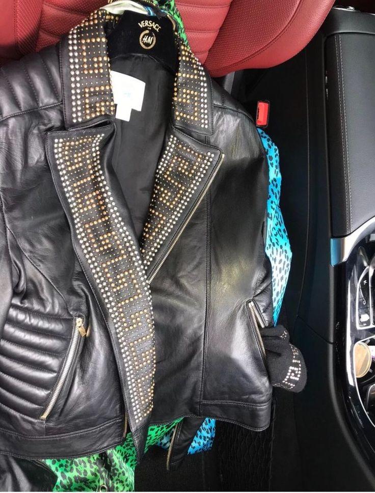 VERSACE x H&M Black Leather Biker Moto Studded Jacket