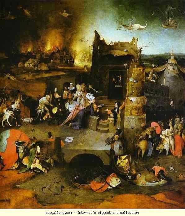 Йеронимус Бош.  Temptation на Свети Антоний.  Галерия Олга - Temptation на Свети Антоний.  1500. Централен панел.  Маслени панел.  Музей Насионал де Арте Антига, Лисабон, Португалия: