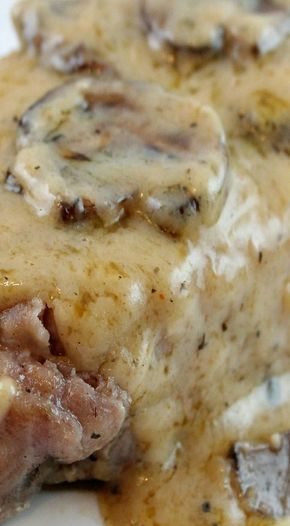 Garlic Butter & Mushrooms Baked Pork Chops _ Delicious & easy with a flavorful butter sauce that compliments the meal perfectly. You start by combining your seasonings of garlic, mushrooms, salt, pepper, oregano, & thyme with a little bit of butter in a large skillet. When the butter is melted, toss in your pork chops & seer each side of your chops until golden brown!