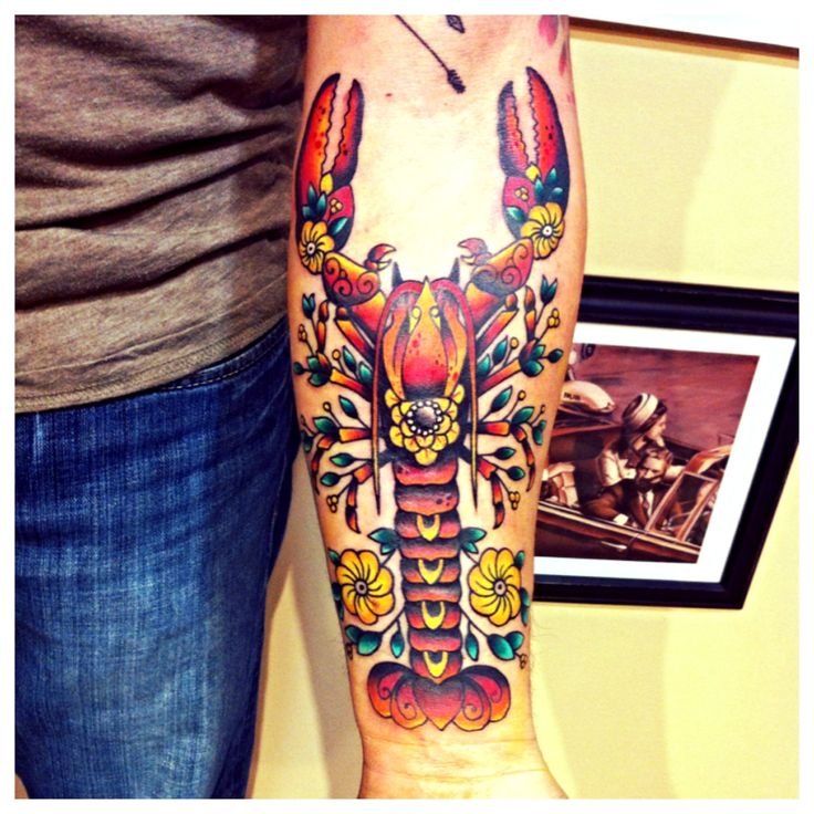 My husbands awesome new flash art style lobster tattoo! Representing Maine!!