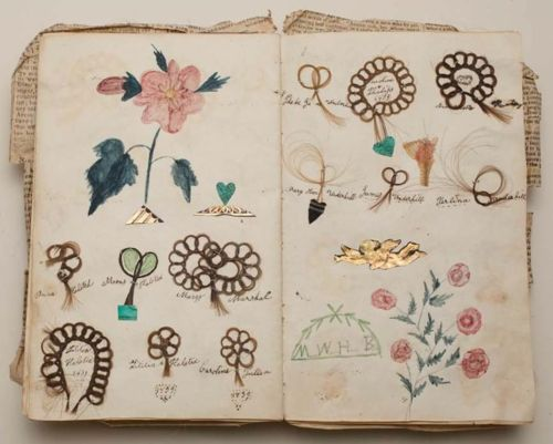 Friendship album, Margaret Williams, 1839, Album with locks of hair sewn onto the pages in loops of stylized flowers with colored drawings of flowers    (via fleurdechair)