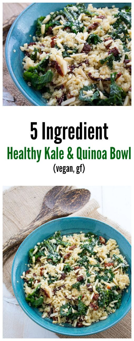 A healthy kale and quinoa bowl that uses only five ingredients and takes less than 25 minutes to make.