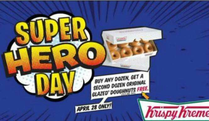 Buy One Get One Free at Krispy Kreme:  Help Krispy Kreme Donuts celebrate Super Hero Day on Thursday April 28. At participating locations you can buy a dozen donuts and get the second  dozen for FREE!!!!!!!!!!!!!!!!!!!!!!!!!!!!!!!!!  For more information and participating locations visit our website or use this link: http://www.livelifehalfprice.com/activity-discounts/family-kids/buy-one-get-one-free-at-krispy-kreme/ Share and Enjoy
