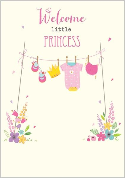 Card Ranges » 7326 » New Baby Girl - Washing Line of Pink - Abacus Cards - Greetings Cards, Gift Wrap & Stationery