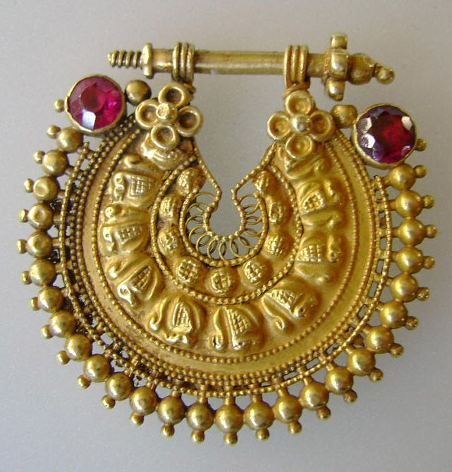 India | Nosering ~ 'nath' ~ gold and glass | 19/20th century.  Orissa or Andhra Pradesh | Price on request.