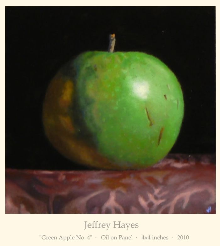 """Jeffrey Hayes: """"Green Apple No. 4""""  ·   Oil on Panel  ·   4x4 inches  ·   2010"""