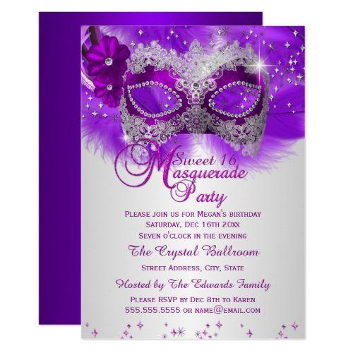 Lace Mask Purple Silver Masquerade Sweet 16 Invitation