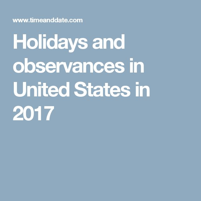 Holidays and observances in United States in 2017
