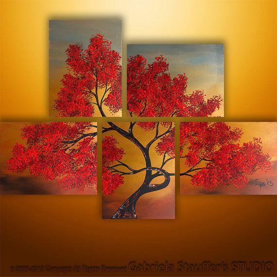 Abstrakte Malerei, Landschaftsmalerei, Acryl Gemälde, Wall Art, Wand Dekor, Baum-Malerei, Gemälde, große Gemälde,…