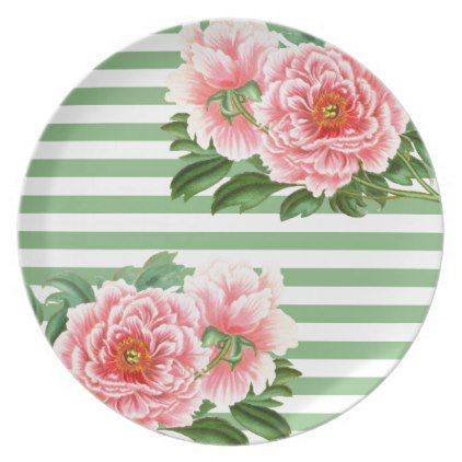 Pink Peonies Green Stripes Plate - classy gifts custom diy personalize