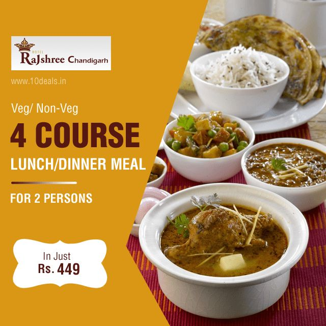 Have you tried our Lunch/Dinner Meal #Deals? Treat yourself to a great Meal. Get Veg/Non.Veg Lunch/Dinner Meal for 2 persons in Just Rs.449. The meal at #HotelRajshree knows you well..