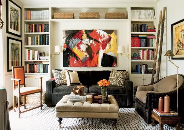 Living Room Built In Shelves Designer Courtney Giles Featured Atlanta Homes Magazine