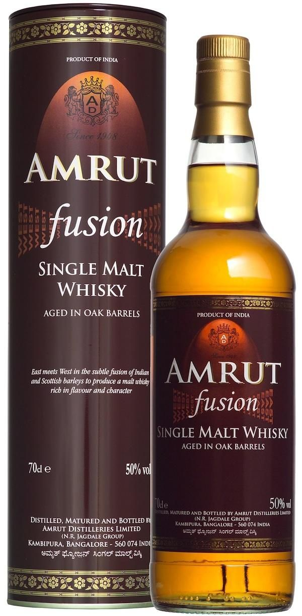 Amrut Fusion Indian Single Malt Whisky (750mL). Fusion gets its name from the fact that it uses two barleys: Indian and Scottish - with the latter being peated for good measure. Fusion has been picking up awards ever since it first appeared in 2009, and in 2012 was named the best whisky for a Rob Roy in the Ultimate Cocktail Challenge in New York.