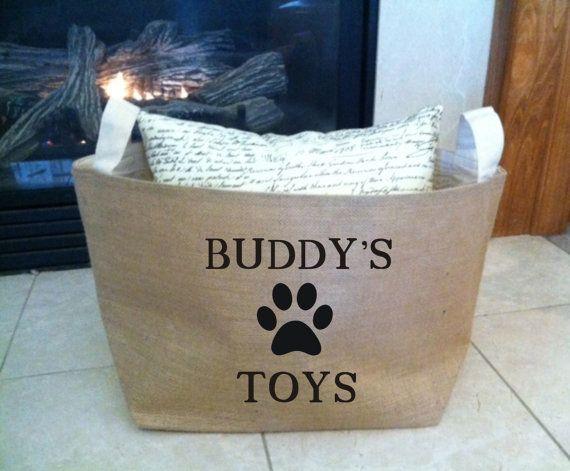 large personalized  lined burlap dog toy basket , burlap storage tote