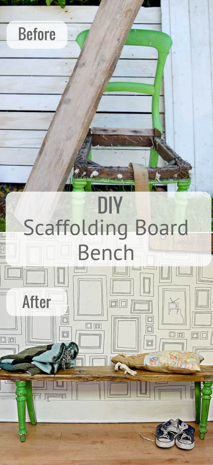 Easy DIY scaffolding board furniture. Combine the legs of an old dining chair with a scaffolding board for a unique upcycled wooden bench.