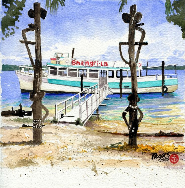 Shangri-La Cruise Boat at Tippler's Tavern on South Stradbroke Island, Gold Coast, Australia in the 1960s. (Artist:  Kevin Rogers)