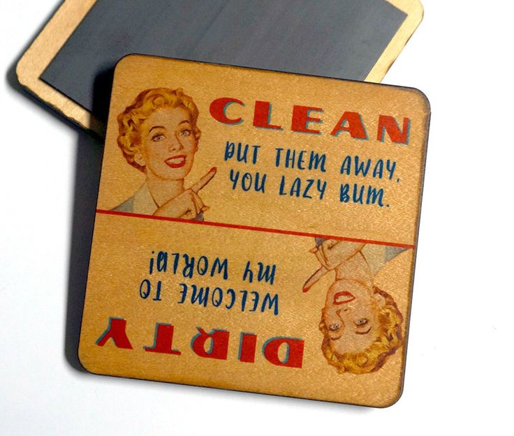Funny Dirty Clean Dishwasher Magnet, Vintage Wife - Women ...