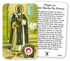 St.Martin Prayer Card with Relic Cloth.