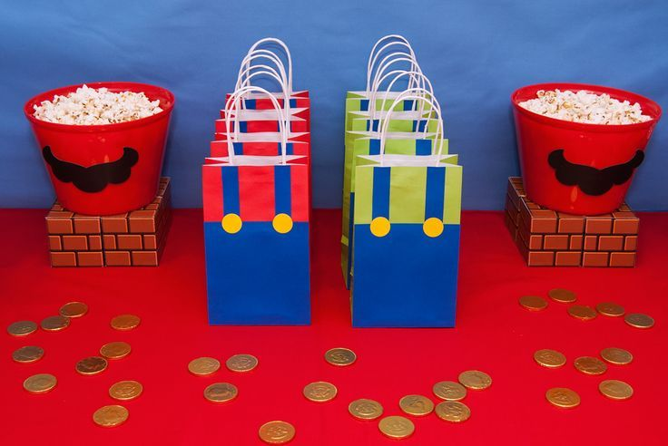 Super Mario Bros birthday party favors! See more party planning ideas at CatchMyParty.com!