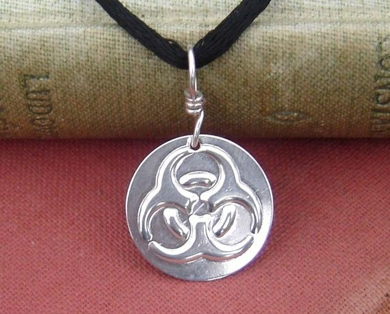 Feeling contagious?  Biohazard Pendant  Geek Necklace Sterling by nicholasandfelice, $ 14.00