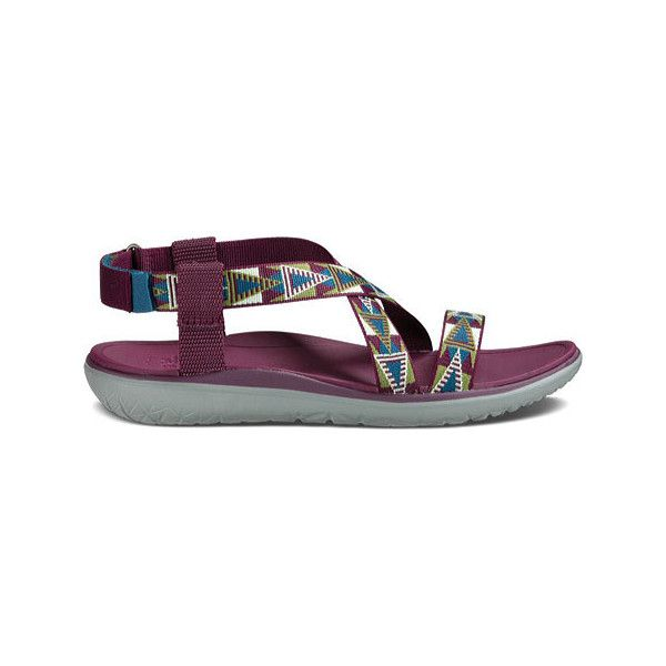 Women's Teva Terra-Float Livia Sandal - Mosaic Grape Wine Casual ($90) ❤ liked on Polyvore featuring shoes, sandals, casual, casual footwear, velcro shoes, sports sandals, sport sandals, velcro strap sandals and strappy shoes