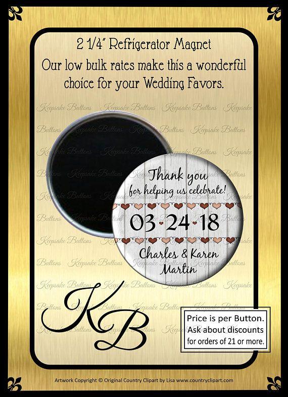 rustic wedding favor magnets country wedding favors 2 25 custom